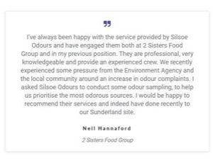 Testimonials are used throughout the new Silsoe Odours website