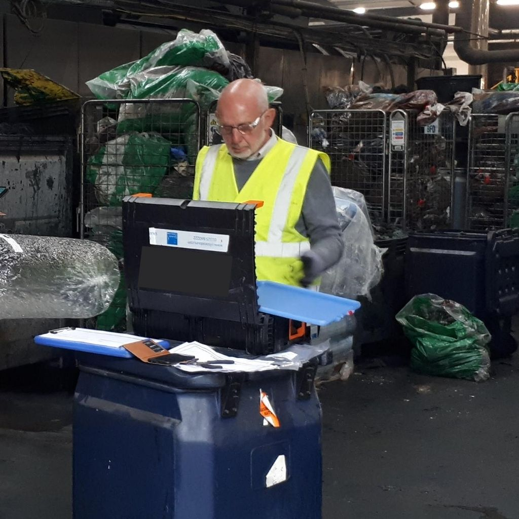 Robert Sneath, Director at Silsoe Odours, conducts odour testing at a commercial laundry