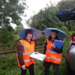 Odour panellists face all weathers! Sisse & Marion didn't let the rain stop them on this occasion.