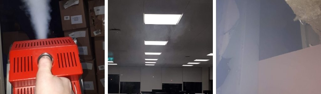 Smoke testing in action - the team fill the space with smoke and identify leaks