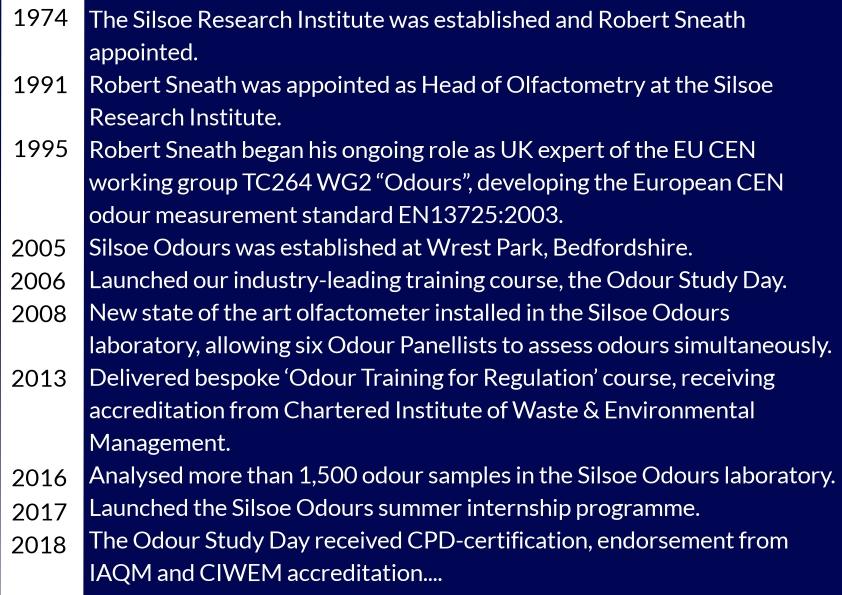 Silsoe Odours timeline